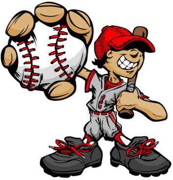 funny cartoon baseball player vector
