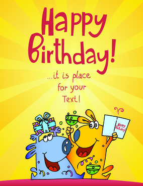 funny cartoon birthday cards vector