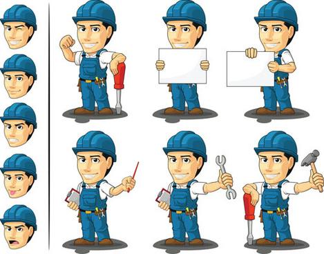 funny cartoon builders vector illustration