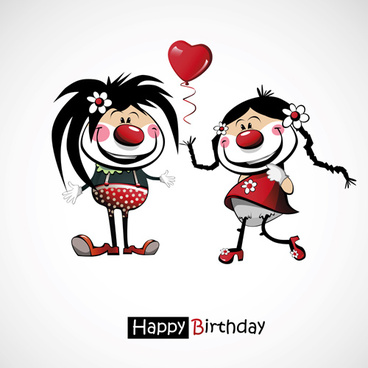 funny cartoon character with birthday cards set vector
