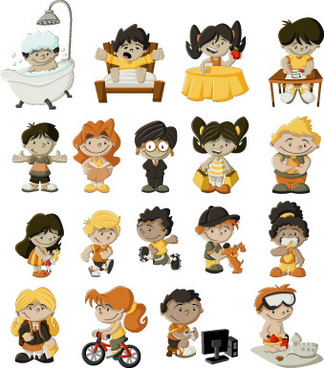 Funny cartoon child design vectors