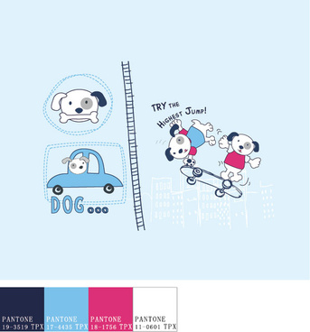 funny cartoon dog vector