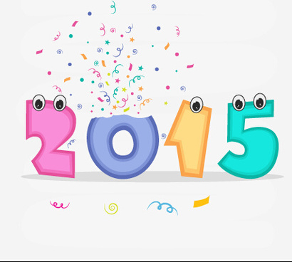 funny cartoon eye with15 new year vector design