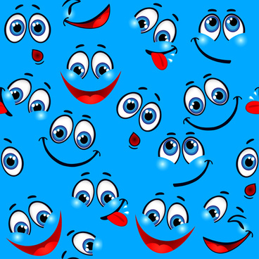 funny cartoon face pattern vector graphic