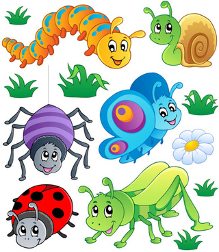 funny cartoon insects vector set