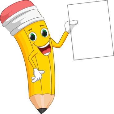 funny cartoon pencil vector