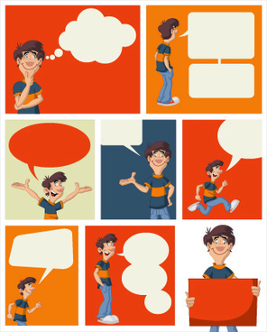 funny cartoon people and text cloud vector