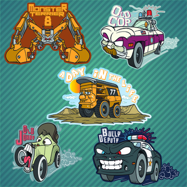 funny cartoon transport elements vector