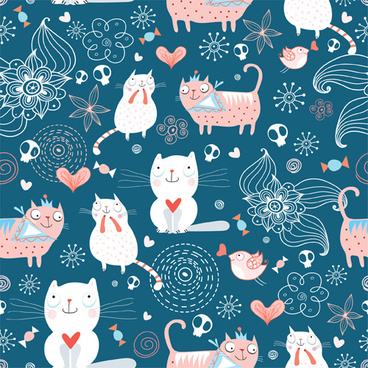 funny cat pattern vector