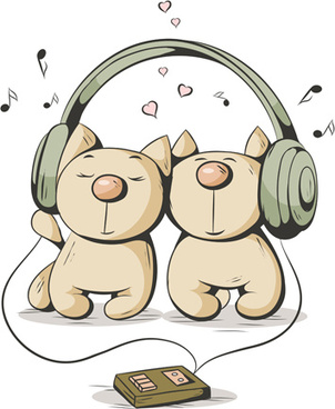 funny cats with music vector design