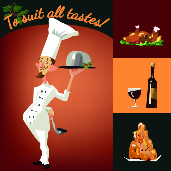 funny chef with menu template vector