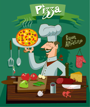 funny chef with pizza vector