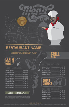 funny chef with restaurant menu vector