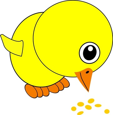 Funny Chick Eating Bird Seed Cartoon