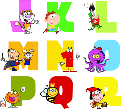 funny childrens alphabet vector set