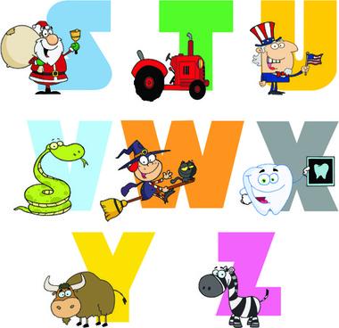 funny childrens alphabet vector set
