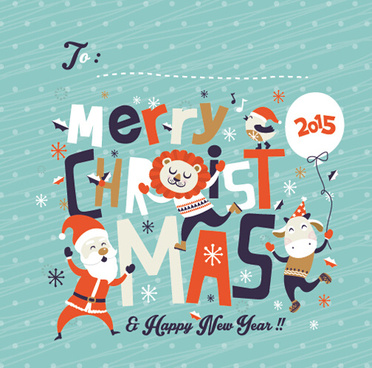 funny christmas cartoon elements vector