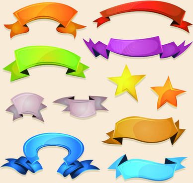 funny colored ribbons banners vector