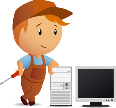 funny computer repair service elements vector