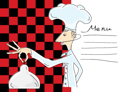 funny cook with waiter design vector set