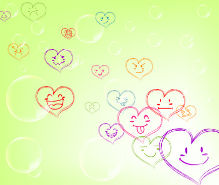 funny drawing of emotion hearts on green background