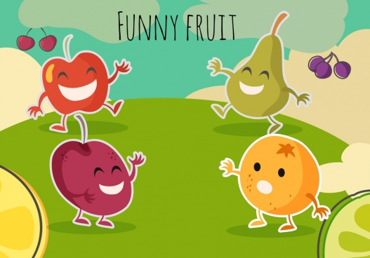 funny fruit background stylized icons cartoon design