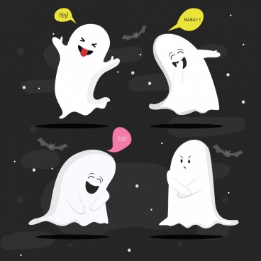 funny ghost icons cute cartoon design