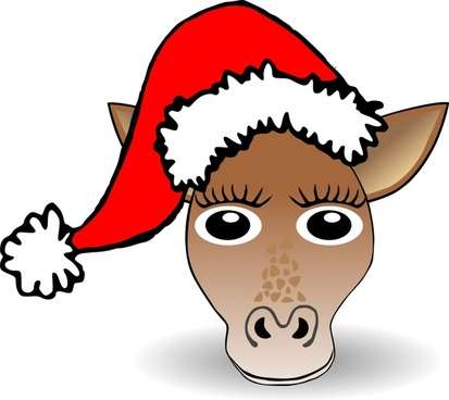 Funny Giraffe Face Cartoon with Santa Claus hat
