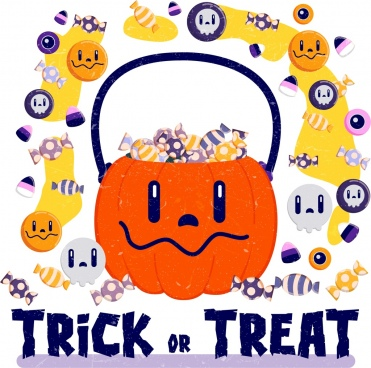 funny halloween background candies pumpkin skull icons