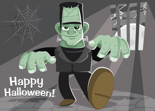 funny halloween figures background vector