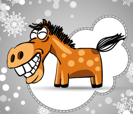 funny hand drawn horse cards vector