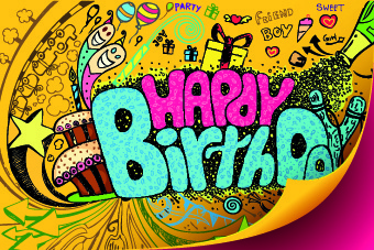 funny happy birthday vector background