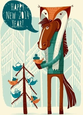 funny horse14 new year background vector