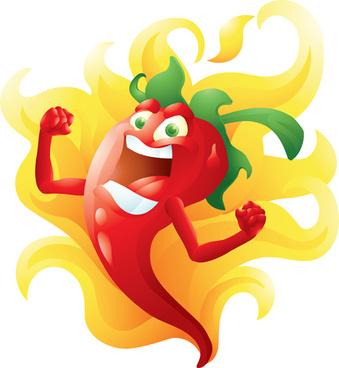 funny hot pepper cartoon styles vector