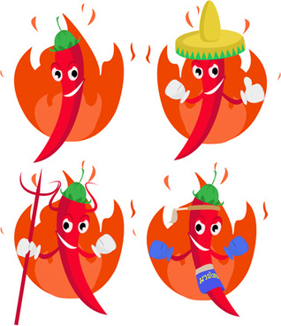 funny hot pepper cartoon styles vector