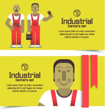 funny industrial banner vector set