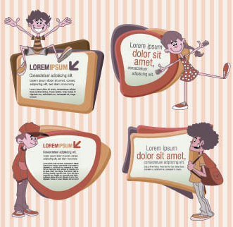 funny kids with speech bubbles vector