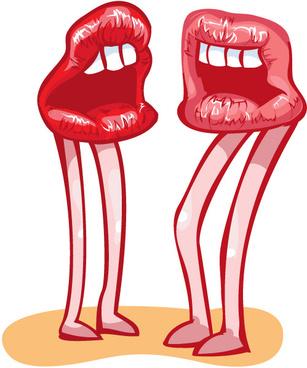 funny lips kiss vector