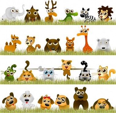 animals icons funny cute cartoon sketch
