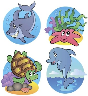 funny marine animal cartoon vectors set