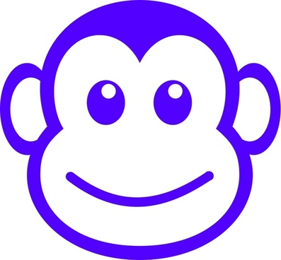 funny monkey face simple path