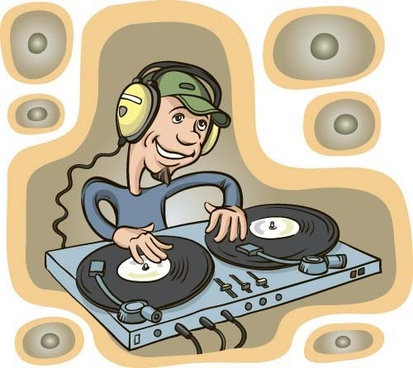 funny music dj vector illustration