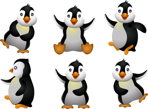 funny penguins design elements vector
