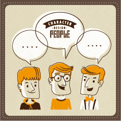 funny people speech bubbles vector design