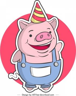 funny pig icon sticker stylized cartoon design