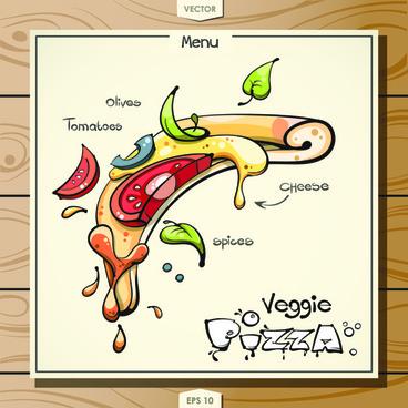 funny pizza menu design vector