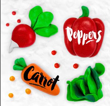 funny plasticine vegetables vector set