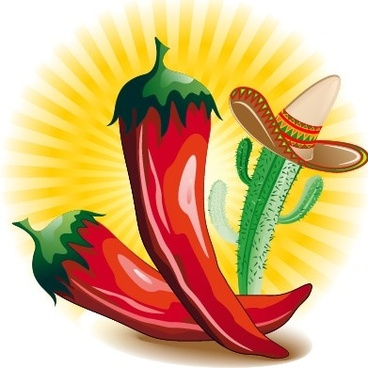 funny red peppers and cactus vector