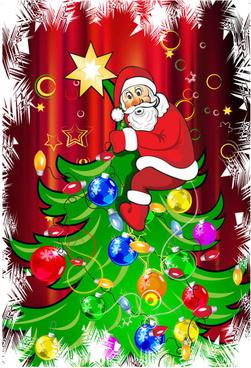 funny santa claus and christmas tree vector