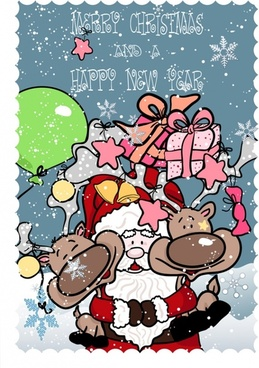 funny santa claus and elk vector
